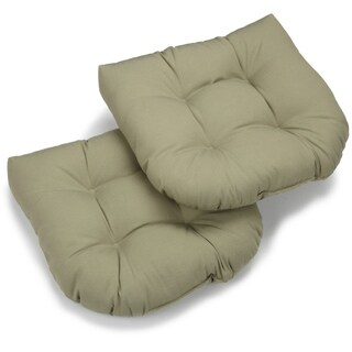 Blazing Needles Earthtone19-inch U-shaped Tufted Twill Chair Cushions (Set of 2)