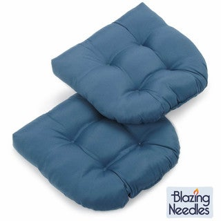 Blazing Needles Solid 19-inch U-shaped Tufted Twill Chair Cushions (Set of 2)