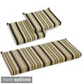 Blazing Needles Spun Poly Settee 3-piece Outdoor Patterned Cushions