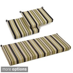 Blazing Needles Spun Poly Settee 3-piece Outdoor Cushions
