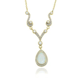 Dolce Giavonna 18k Gold Overlay Synthetic Opal, Topaz and Diamond Necklace