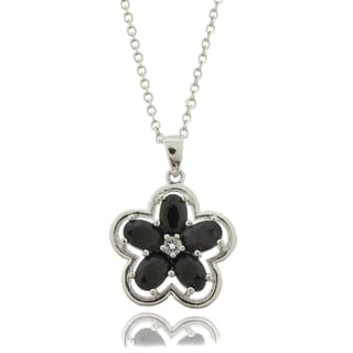 Dolce Giavonna Silver Overlay Black Sapphire and White Topaz Flower Necklace