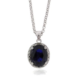 Dolce Giavonna Silverplated Created Sapphire and Diamond Accent Necklace