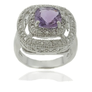 Dolce Giavonna Silver Overlay Amethyst and Diamond Accent Square Ring