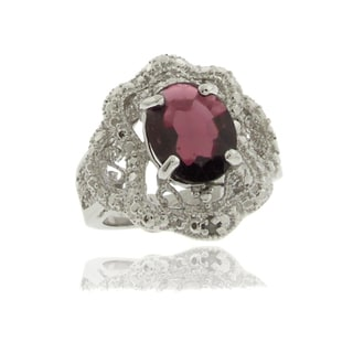 Dolce Giavonna Silver Overlay Garnet and Diamond Accent Antique-style Ring