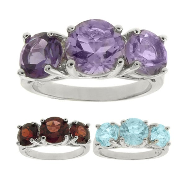 Dolce Giavonna Silverplated Gemstone 3-stone Ring with Gift Box