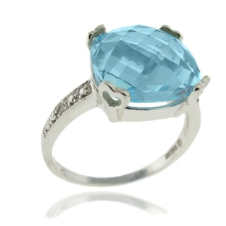 Dolce Giavonna Silver Overlay Cushion-cut Blue Topaz and Diamond Accent Ring