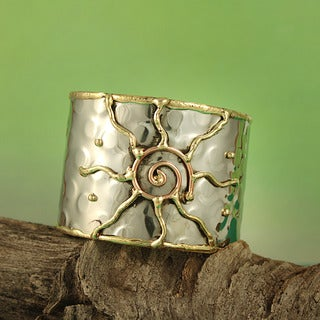 Handcrafted Hammered Brass and Copper Sunshine Cuff Bracelet (India)