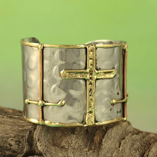 Handcrafted Hammered Brass Copper Sideways Crosses Cuff Bracelet (India)