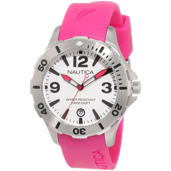 Nautica Men's BFD 101 Dive N11552M Pink Resin Quartz White Dial Watch