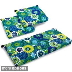 Blazing Needles Spun Poly Settee 3-piece Outdoor Flowery Cushions