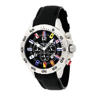 Nautica Men's NST Chrono Flag N16553G Black Polyurethane Quartz Black Dial Watch