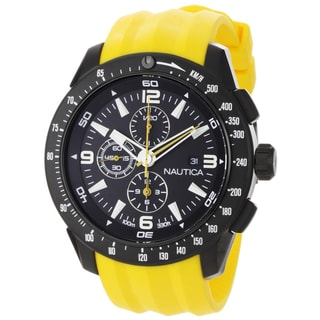 Nautica Men's NST 101 N18599G Yellow Resin Quartz Black Dial Watch