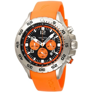 Nautica Men's NST Chrono N14538G Orange Resin Quartz Black Dial Watch