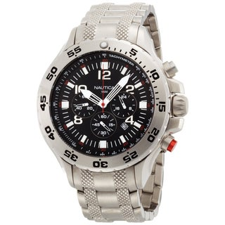 Nautica Men's NST Chrono N19508G Silver Stainless-Steel Quartz Black Dial Watch