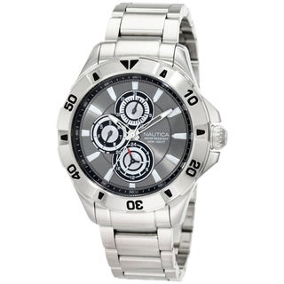 Nautica Men's NST-06 N17545G Silver Stainless-Steel Quartz Black Dial Watch
