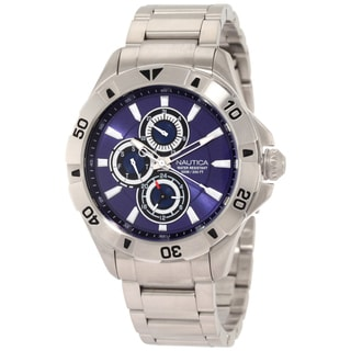 Nautica Men's NST-06 N17546G Silver Stainless-Steel Quartz Blue Dial Watch
