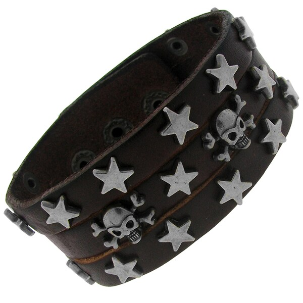 Brown Leather and Silvertone Men's Skull and Star Stud Bracelet