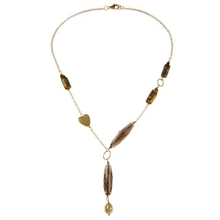 Gold over Silver Yellow FW Pearl and Smokey Quartz Necklace (8-9 mm)