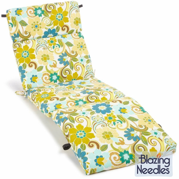 Blazing Needles Floral/ Stripe 72-inch Spun Poly Outdoor Chaise Lounge Cushion