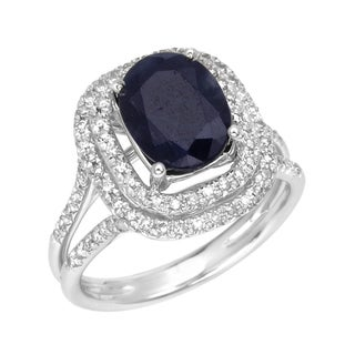 14k Gold Sapphire and 3/8ct TDW Diamond Ring (G, SI1)