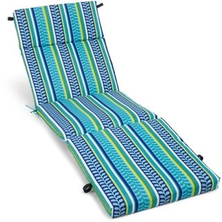 Blazing Needles Floral 72-inch Spun Poly Outdoor Chaise Lounge Cushion