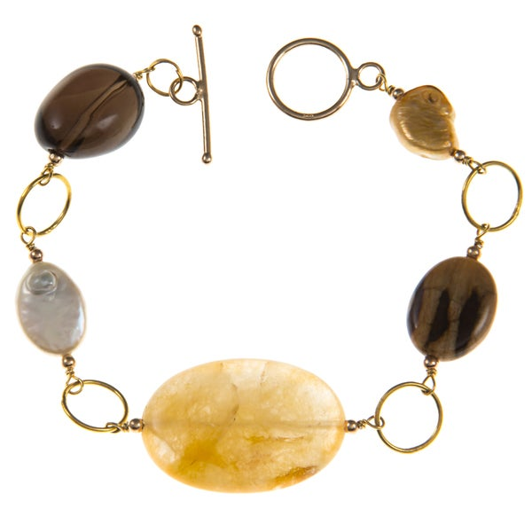 Gold over Silver FW Pearl and Multi-gemstone Bracelet (9-10 mm)
