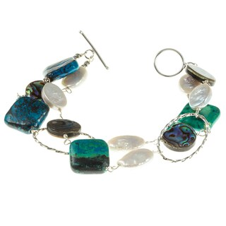 Silver White FW Pearl, Chrysocolla and Abalone Bracelet (9-10 mm)