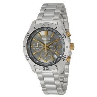 Seiko Men's 'Chronograph' Stainless Steel and Yellow Goldplated Quartz Watch