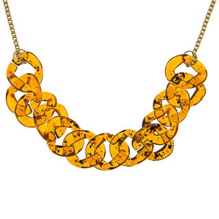 Kenneth Jay Lane Goldtone Amber Link Chain Necklace