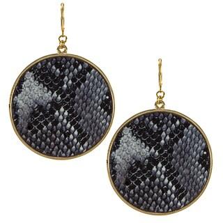 Kenneth Jay Lane Goldtone Black/ Tan Snake Print Round Earrings
