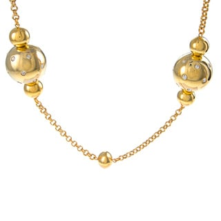 Kenneth Jay Lane Goldtone Crystal Ball Station Necklace
