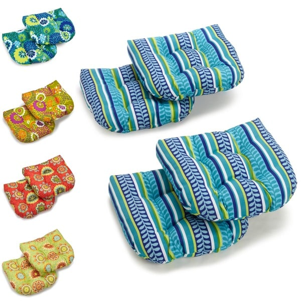 Blazing Needles 19-inch U-shape Spun Poly Chair/ Rocker Outdoor Cushions (Set of 4)