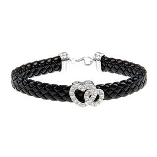 Silver and Black Leather 1/4ct TDW Diamond Heart Bracelet (J-K, I3)