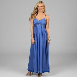 Decode 1.8 Women's Peri Beaded Waist Long Chiffon Gown