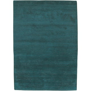 Hand-knotted Teal Green Wool Rug (8' x 11')