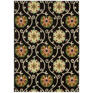 Hand-tufted Suzani Black Floral Medallion Rug (5'3 x 7'5)