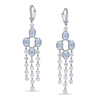 Miadora Signature Collection 14k Gold Aquamarine and 2 1/3ct TDW Diamond Earrings (G-H, SI1-SI2)