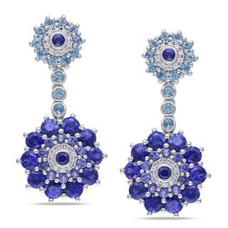 Miadora Signature Collection 14k Gold Sapphire, Topaz and 1/5ct TDW Diamond Earrings (G-H, SI1-SI2)