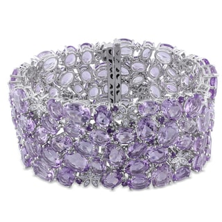 Miadora 14k Gold Amethyst and 1/2ct TDW Diamond Bracelet (G-H, SI1-SI2)