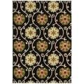 Hand-tufted Suzani Black Floral Medallion Rug (2'6 x 4')
