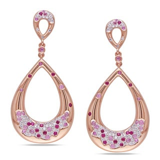 Miadora Signature Collection 14k Gold Pink Sapphire and 3/4ct TDW Diamond Earrings (G-H, SI1-SI2)