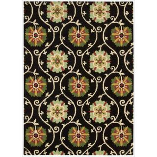 Hand-tufted Suzani Black Floral Medallion Rug (3'9 x 5'9)