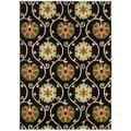 Hand-tufted Suzani Black Floral Medallion Rug (3'9 x 5'9)
