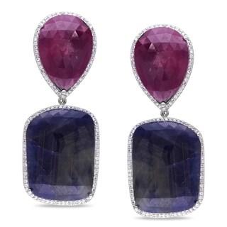 Miadora Signature Collection Sterling Silver Multi-colored Sapphire Dangle Earrings
