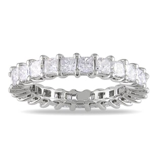 Miadora 18k White Gold 3ct TDW Princess Diamond Eternity Ring (G-H, SI1-SI2)