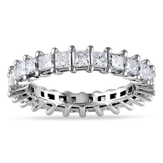 Miadora Signature Collection  18k White Gold 3ct TDW Princess Diamond Eternity Ring (G-H, SI1-SI2)