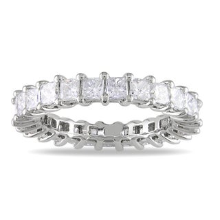 Miadora  18k White Gold 3ct TDW Princess Diamond Eternity Ring (G-H, SI1-SI2) with Bonus Earrings
