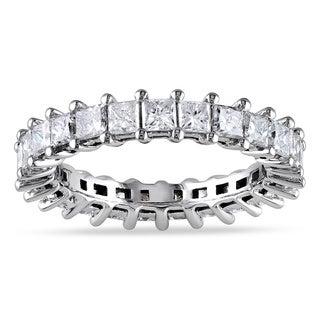 Miadora 18k White Gold 3ct TDW Princess Diamond Eternity Ring (G-H, SI1-SI2)