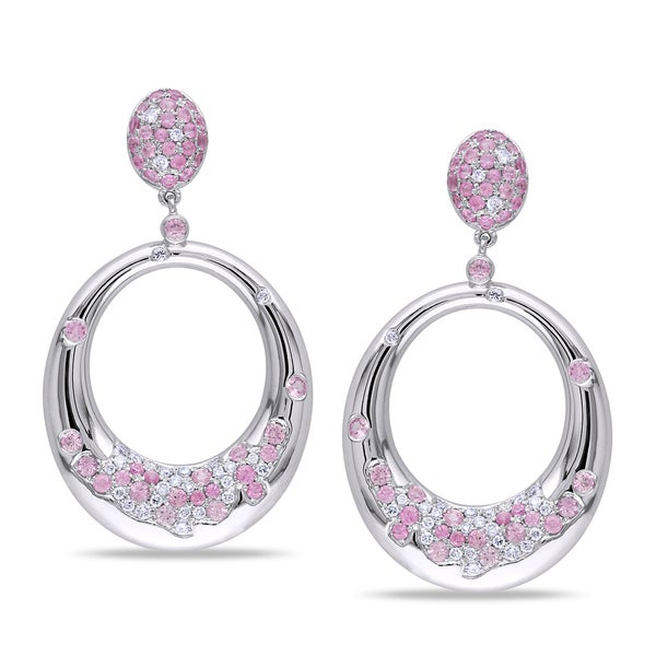Miadora Signature Collection 14k Gold Pink Sapphire and 1/2ct TDW Diamond Earrings (G-H, SI1-SI2)